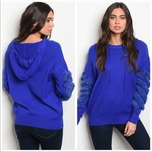 Gorgeous royal blue sweater with faux fur